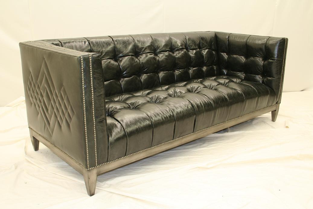 007 Cool Black Leather Tufted Sofa Custom Stitching
