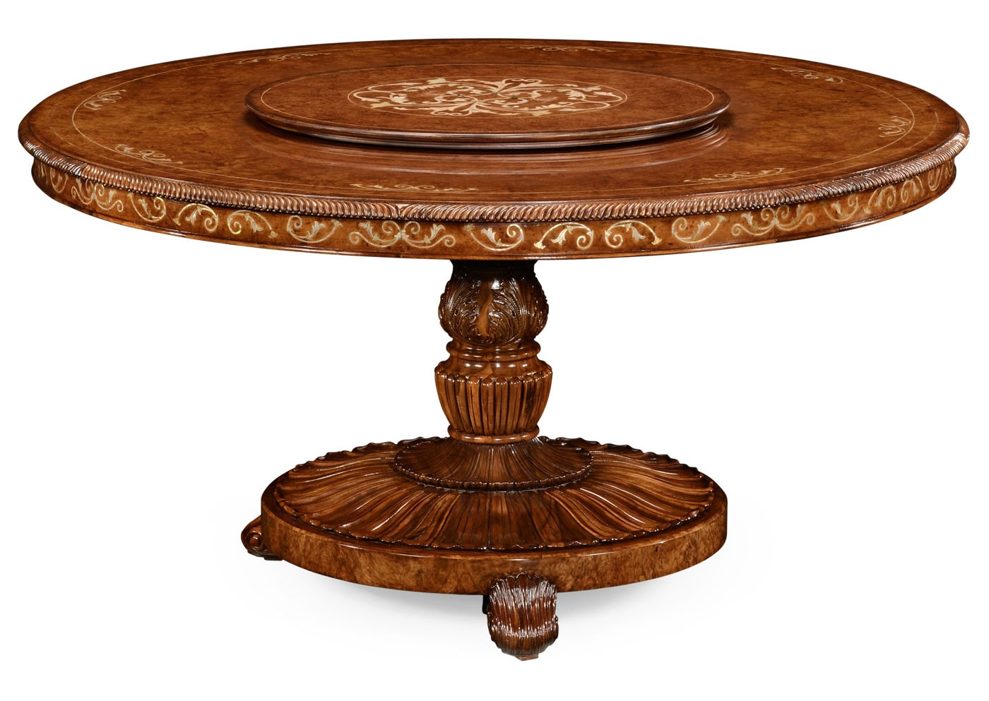 Round luxury dining table with lazy susan for Circular dining table