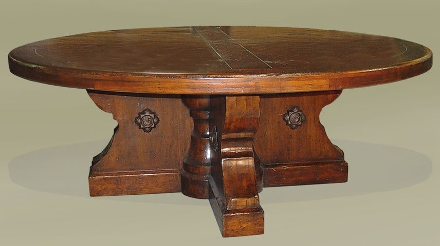 Rustic luxury furniture dining round table 84 dark walnut for Luxury round dining table