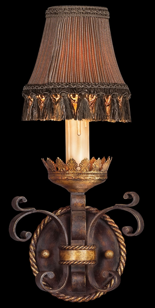 Wall Sconces High End : Wall sconce in antiqued iron and warm gold leaf finish. Decorative pleated shade with tassel ...