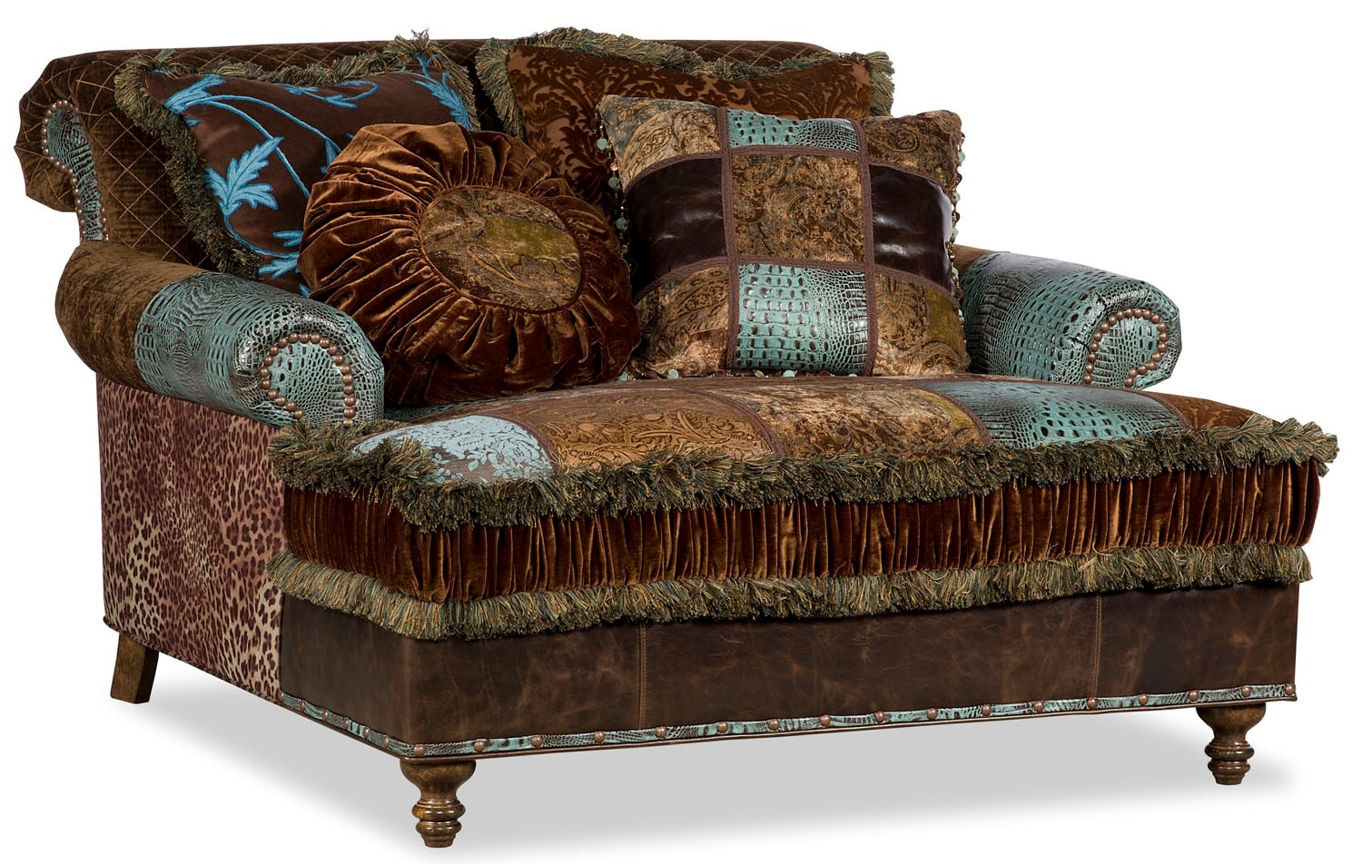 Colorful Fabric Upholstered Double Chair Chaise