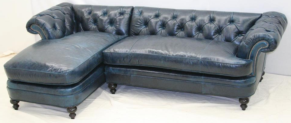 Blue leather sofa with chaise for Blue leather chaise