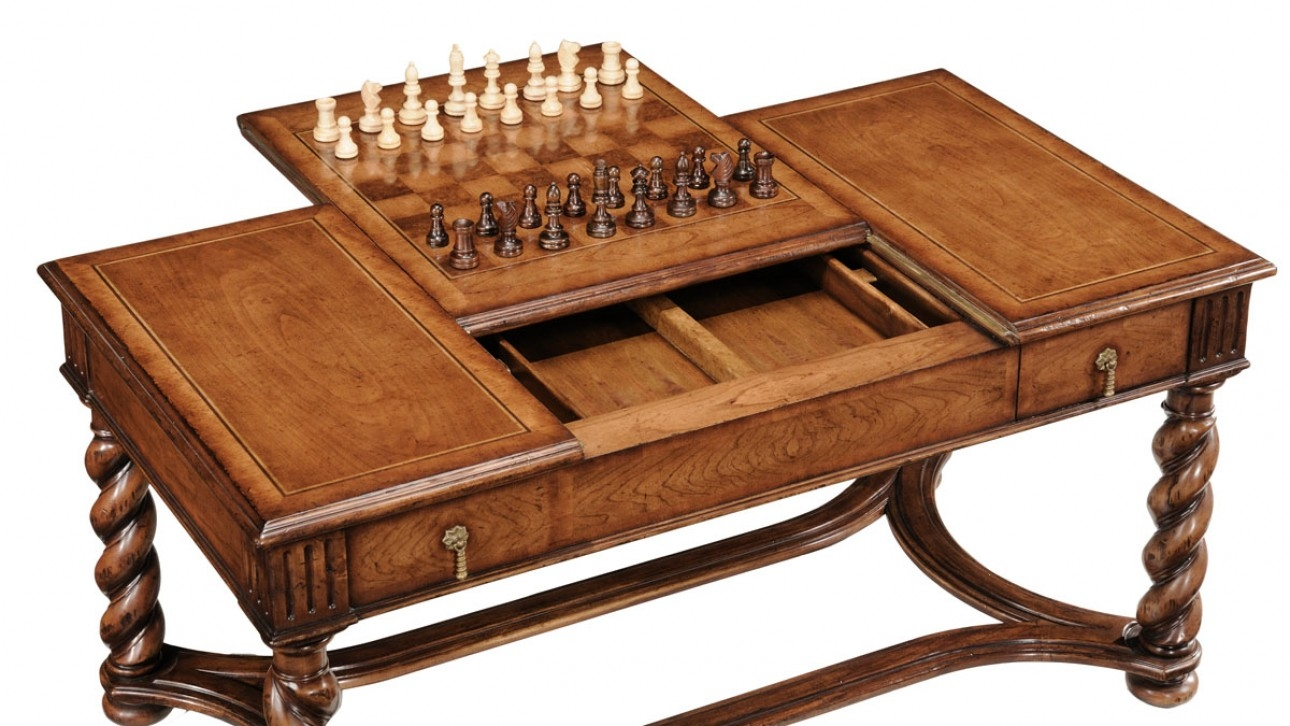 high end furniture game coffee table Chess and backgammon pieces ...