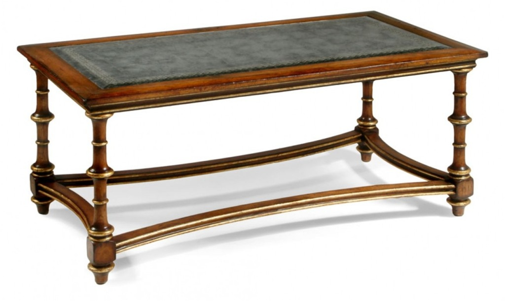 High End Furniture Eglomise Glass Coffee Table With Curved Stretcher Gilded Detail On The