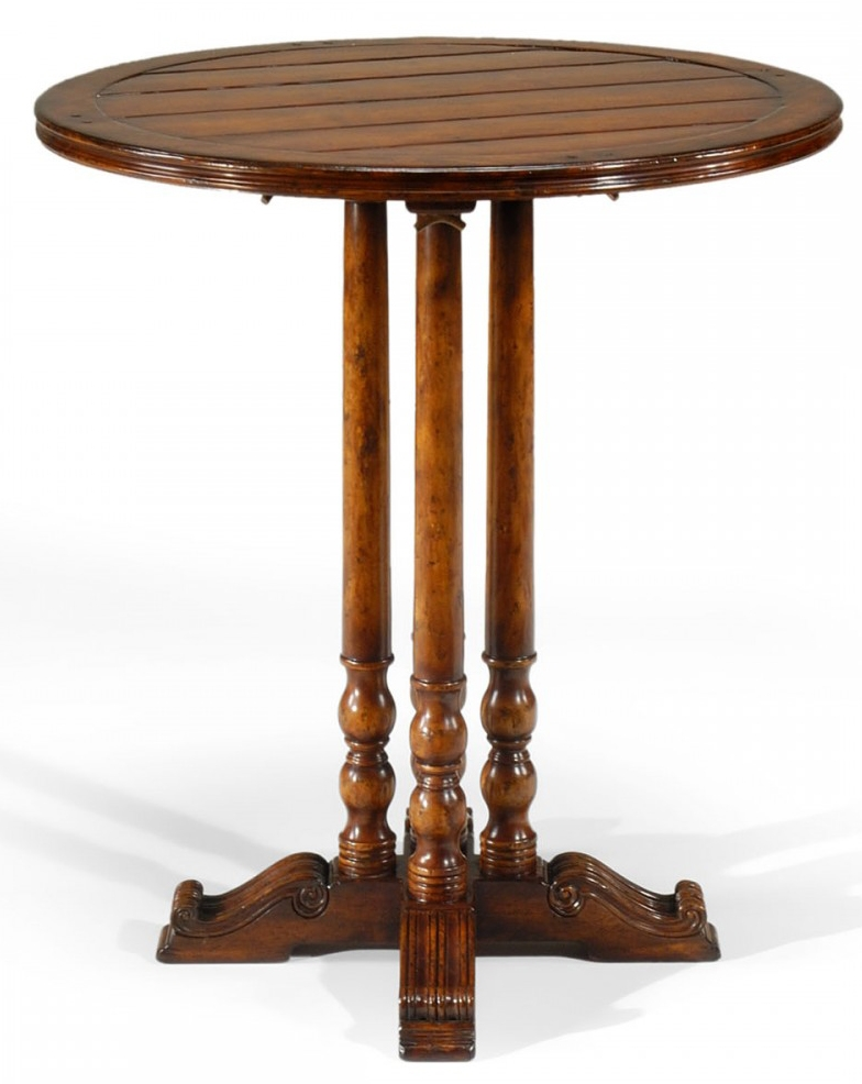 Wooden Bar Table : Antique Wooden Round Bar Table Furniture-37