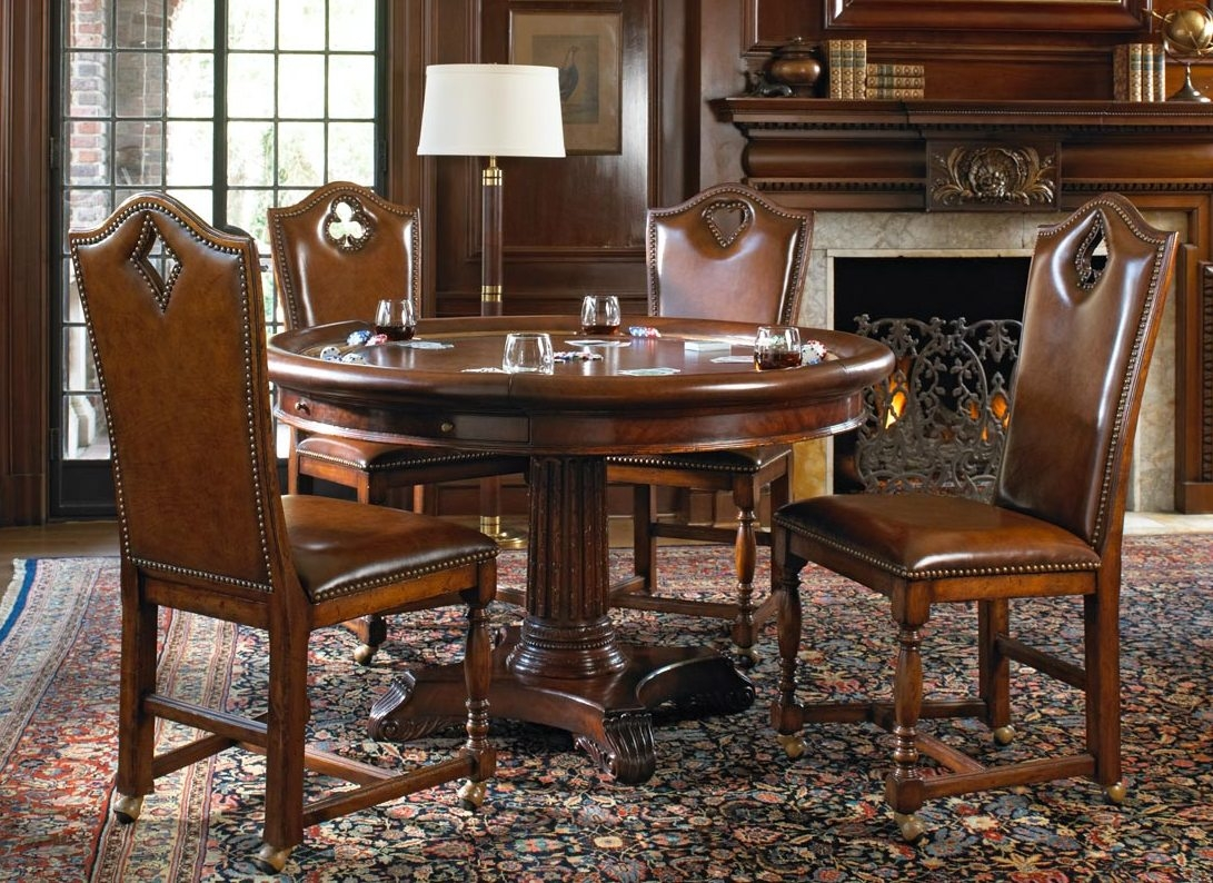 Luxury high end leather top card table for six with drawer for High end furniture