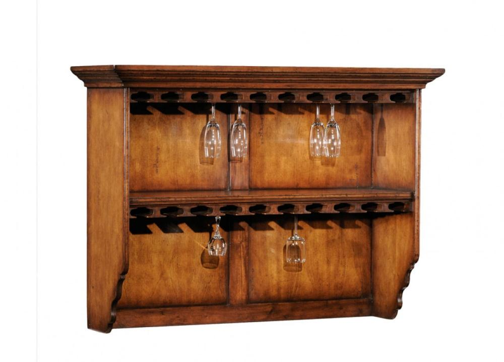 Home bar furniture glasses hanging shelf bernadette for Bar at home furniture