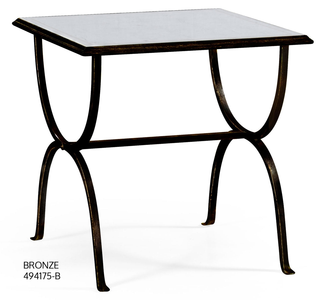 Contemporary Glass Top Square Side Table