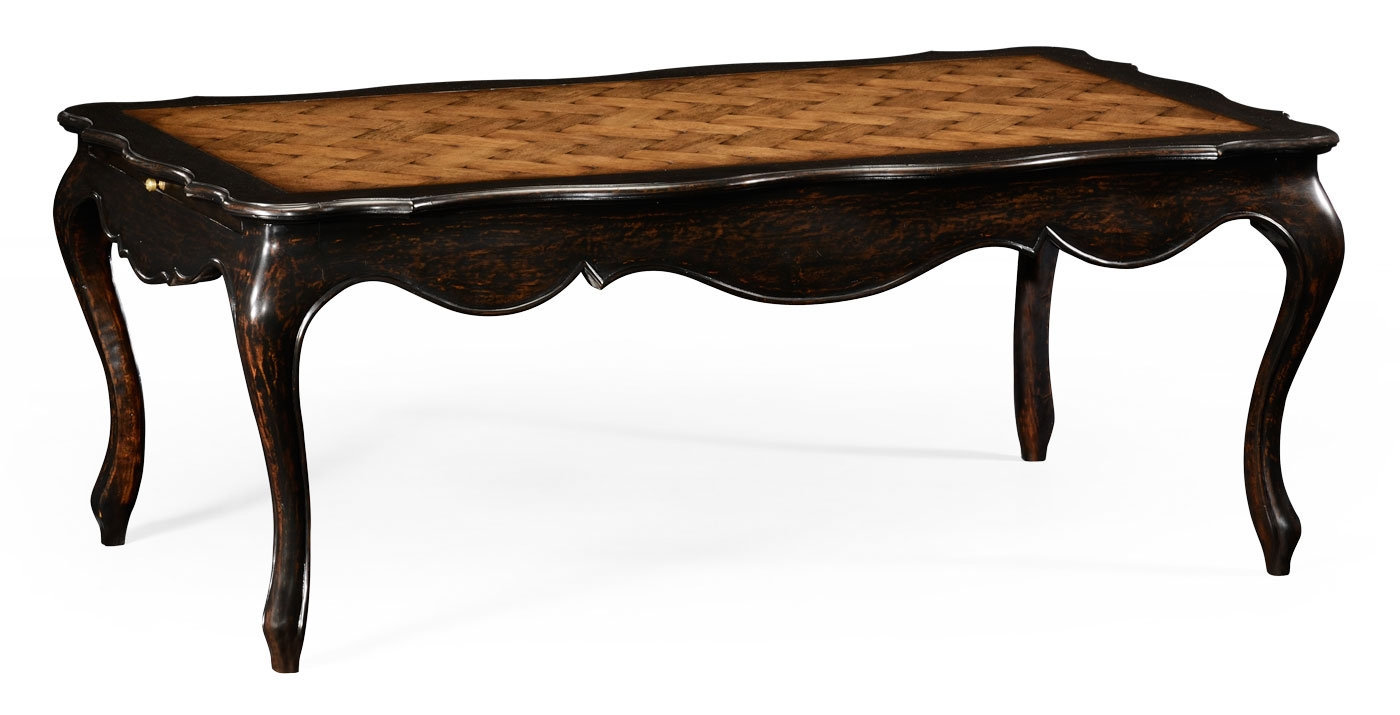 French Style Distressed Black Painted Coffee Table
