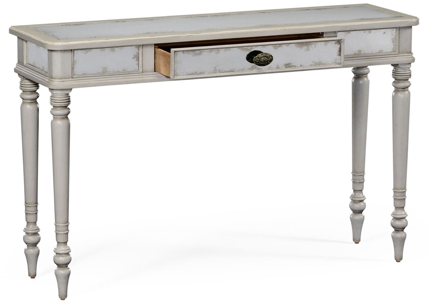Grey painted and eglomise console table for Painted foyer tables