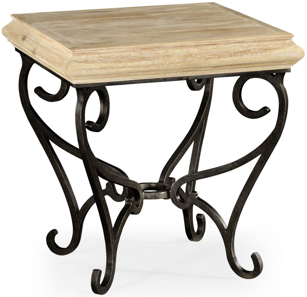 Square side table with wrought iron base for Wrought iron side table