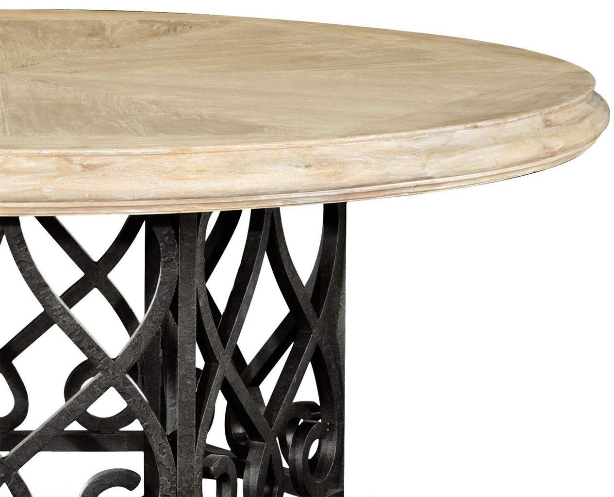 Wood table with black wrought iron base for Iron dining table