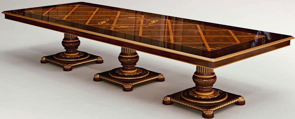 Rectangular dining table triple pedestal base for Rectangular pedestal dining table