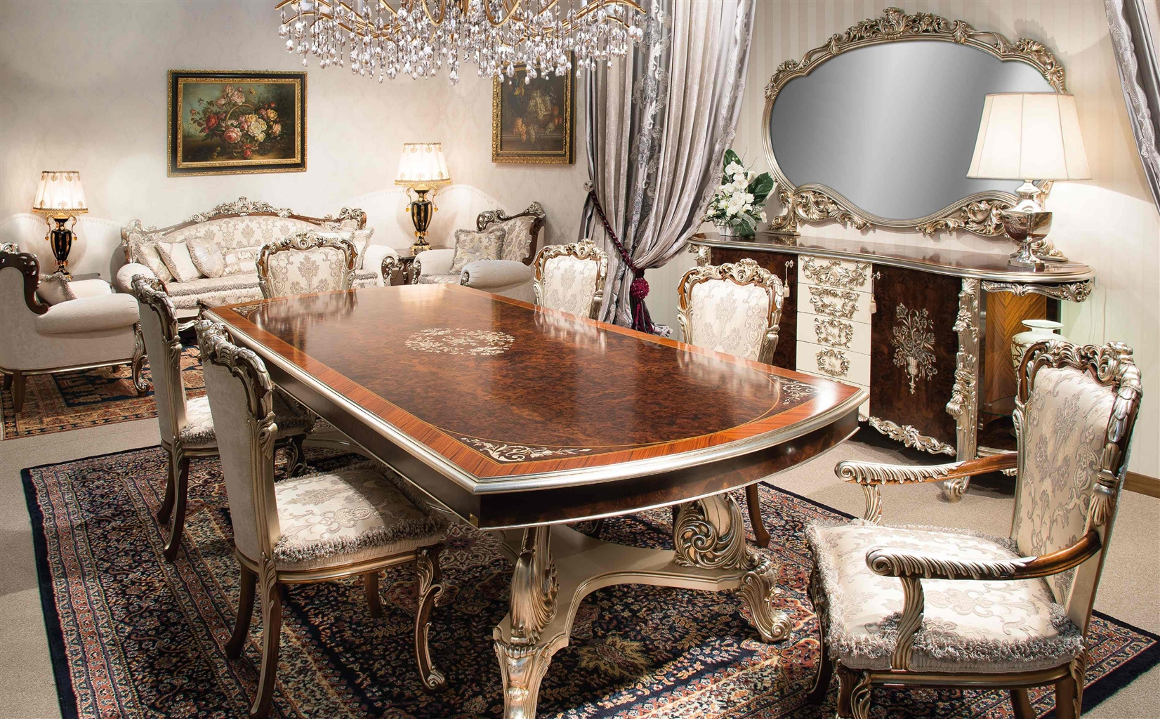 High end italian furniture dining room set for Dining room furnishings