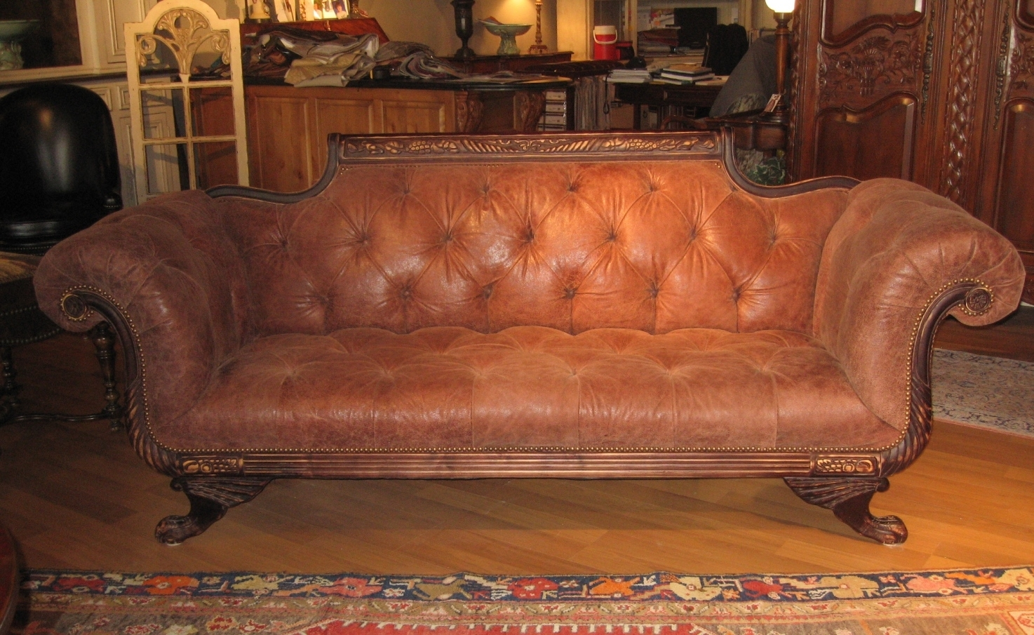 Duncan Phyfe Sofa Tufted High Quality Leather Tufted And Sanded Leather Sofa