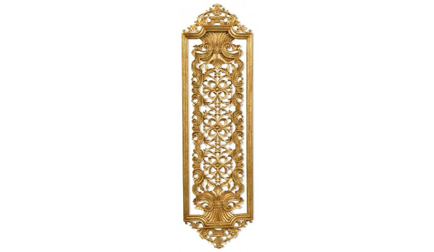 ... Accessories > Hand carved pair of solid wood and gilded wall panel