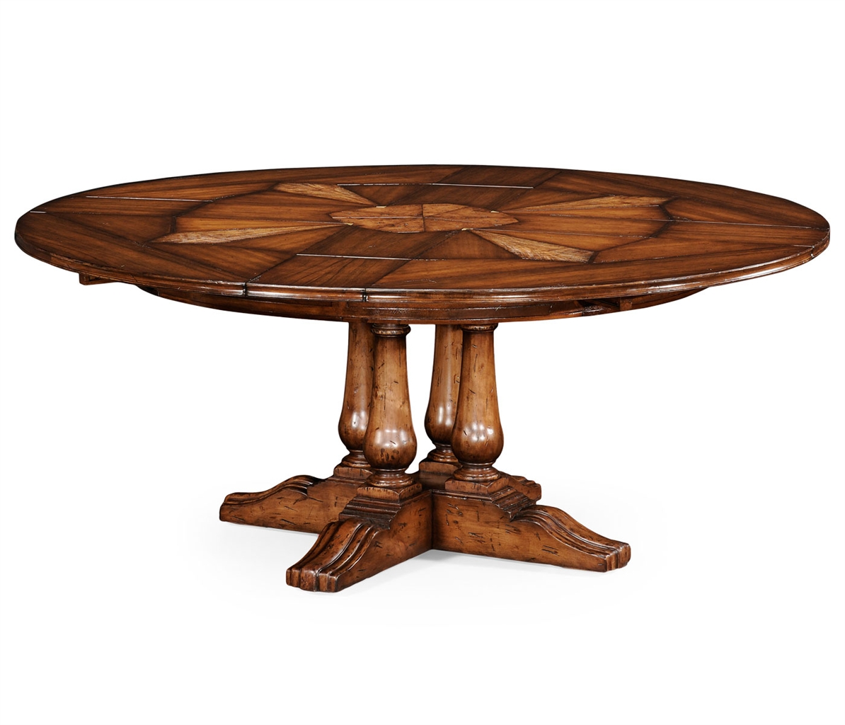 Jupe table with self storing leaves solid walnut center for Really cool dining tables