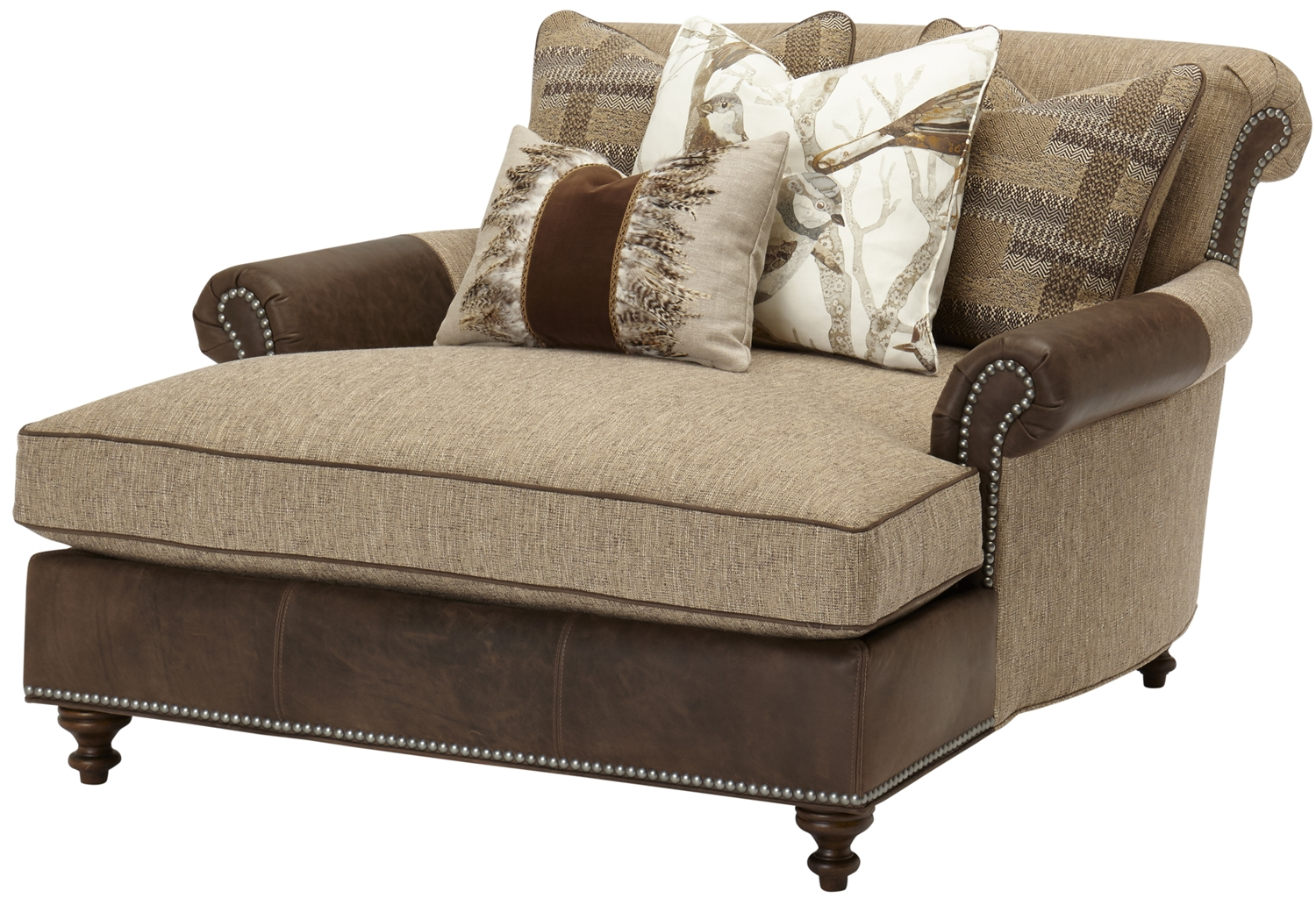 luxury leather upholstered furniture double chair chaise
