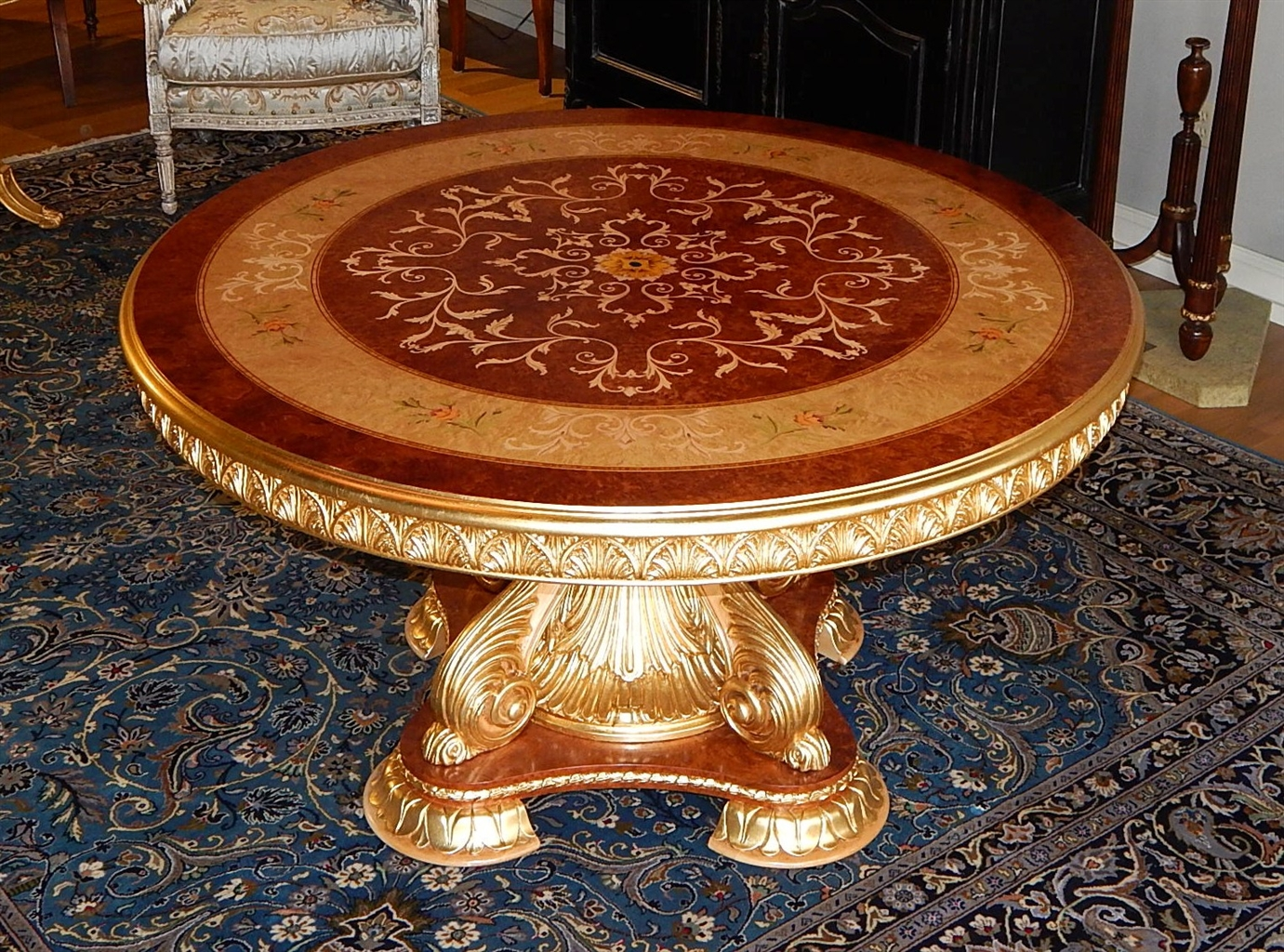 Luxury handmade furniture high end round dining table for Luxury round dining table
