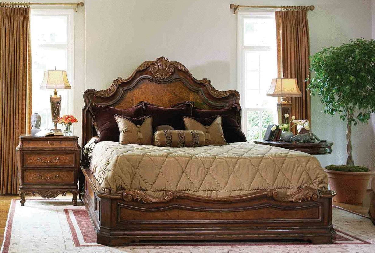 High end master bedroom set platform bed Bedrooms furniture