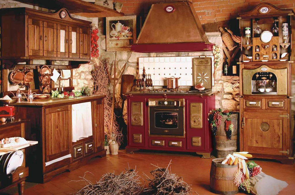 Red old world kitchen range