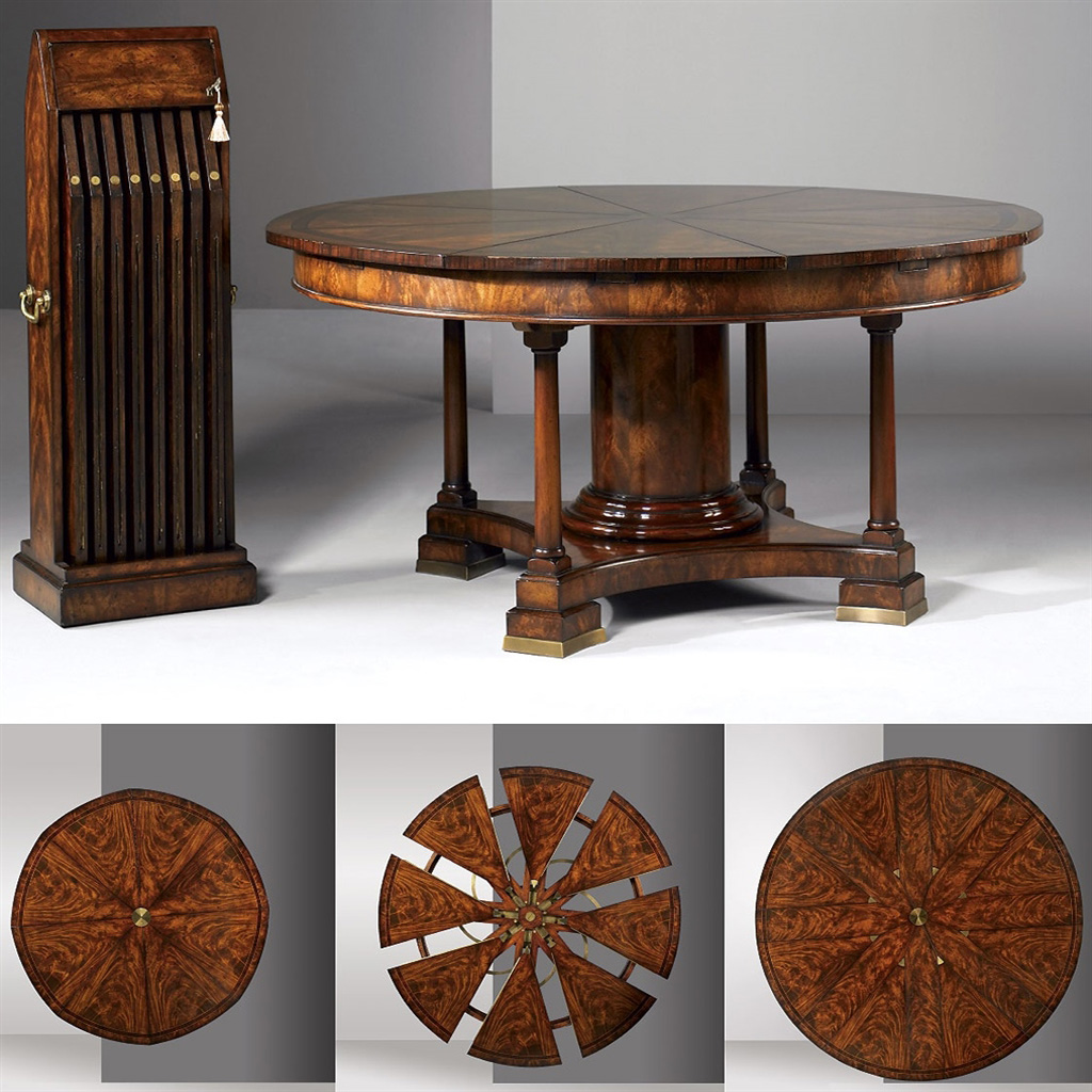 Traditional round to round expanding dinning table