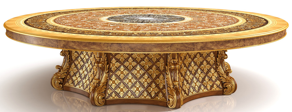 Large round gold leaf dining table