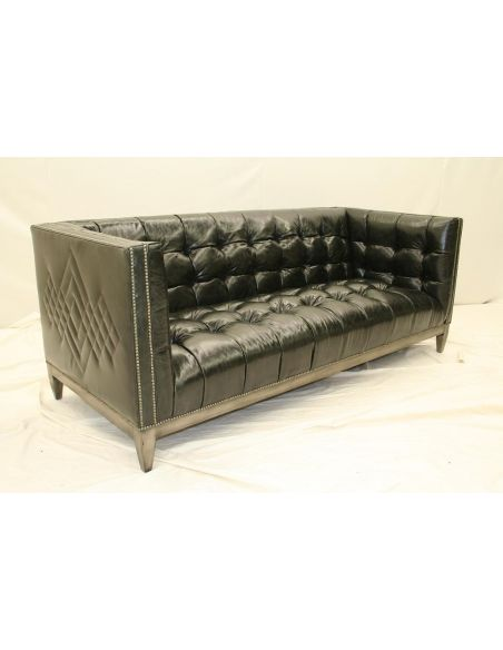 7 Cool, Black Leather Tufted Sofa, Custom Stitching
