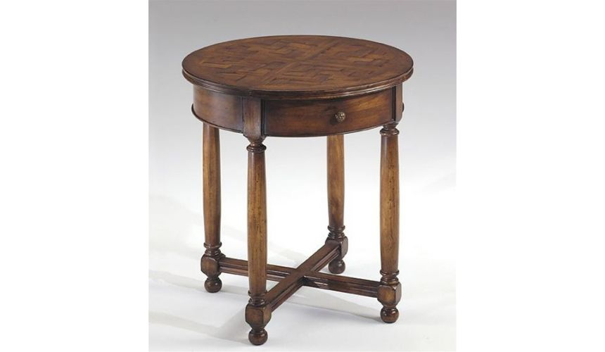 Square & Rectangular Side Tables Round-end-table-parquet-top