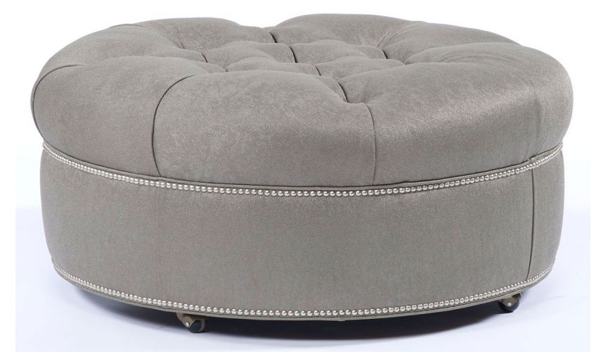Luxury Leather & Upholstered Furniture Round ottoman 83