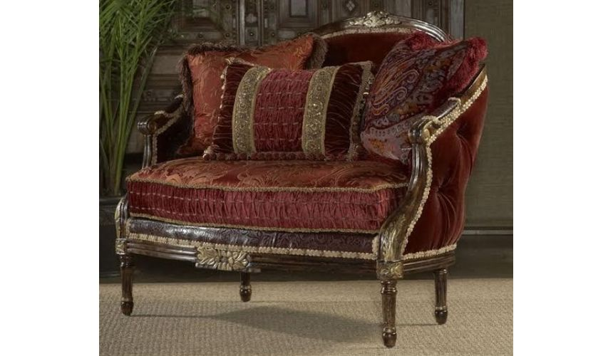 SETTEES, CHAISE, BENCHES Royal red tufted settee