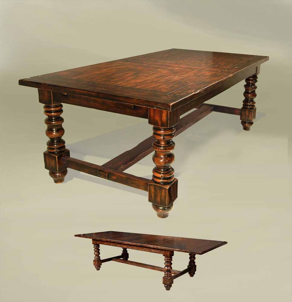 Dining Tables Rustic Old English Style Expandable Dining Table, Solid Ash  And Oak
