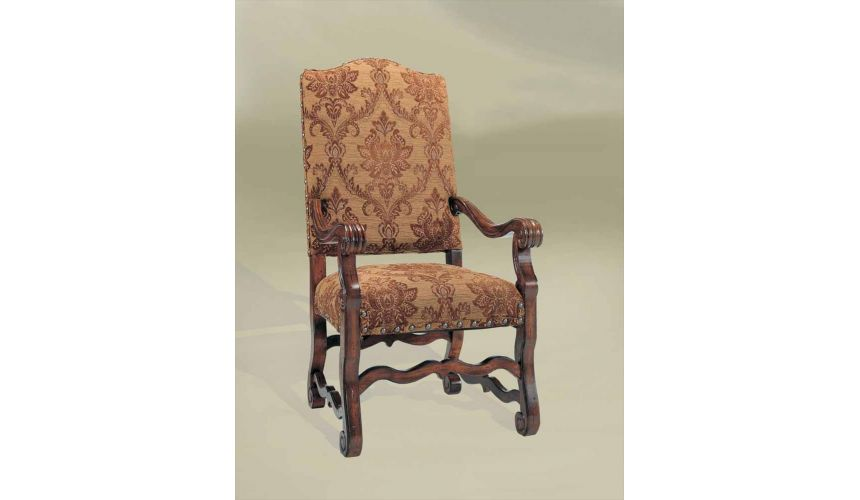 Dining Chairs Rustic Luxury Furniture, Fabric Arm Chair