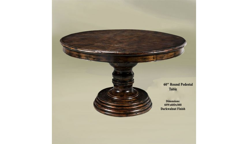 Dining Tables Rustic Home Bar Furniture Round Pedestal Table. 60