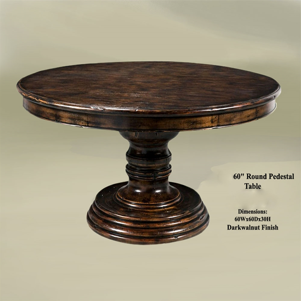 Rustic home bar furniture round pedestal table 60 - Round dining table small space model ...