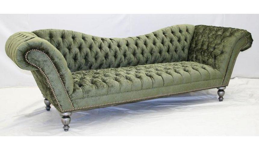 Sage green sofa. Sleek and fun