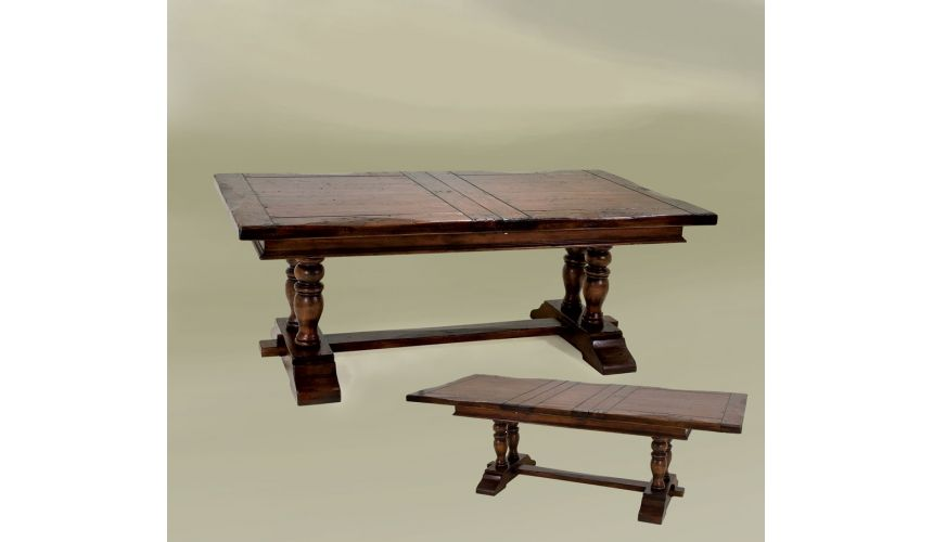 Dining Tables Rustic High End Dinning Room Provence Trestle W/Ext 80 / 102 Tobacco