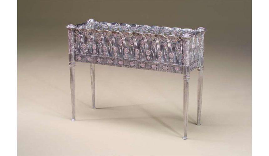 Decorative Accessories High Quality Furniture,Fine pierced stainless steel planter of Art Nouveau design