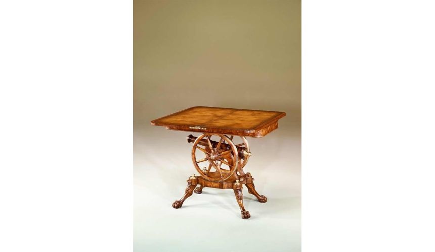 Federal mahogany, rosewood & brass strung games table