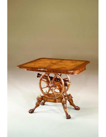 Game Card Tables & Game Chairs Federal mahogany, rosewood & brass strung games table