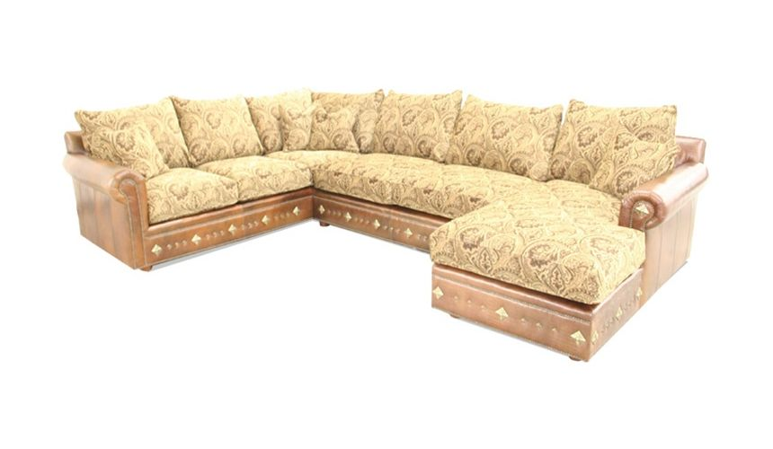 Leather & Floral Yellow Fabric Sectional fine home furnishings