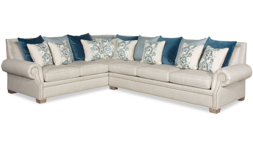 Luxury Leather & Upholstered Furniture Eclectic style large sectional sofa 9886