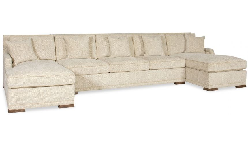 Luxury Leather & Upholstered Furniture Simple style large sectional sofa with 2 chaises 9887