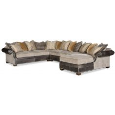 Eclectic style large sectional sofa with a chaise 9885