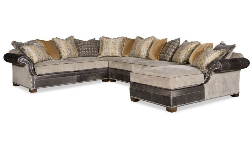 Luxury Leather & Upholstered Furniture Eclectic style large sectional sofa with a chaise 9885