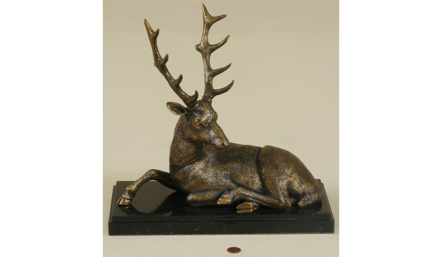 Decorative Accessories Colonial Finished Cast Brass Deer on Black Waxstone Base