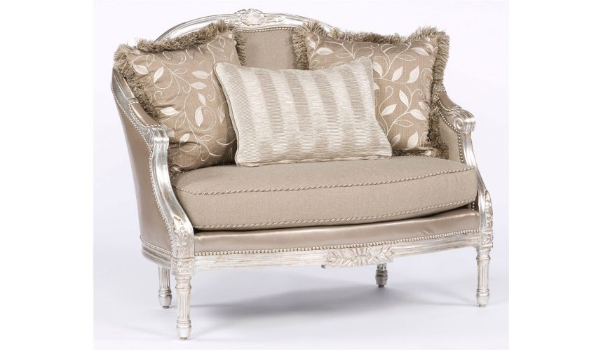 Luxury Leather & Upholstered Furniture Silver sizzle hot settee. 28