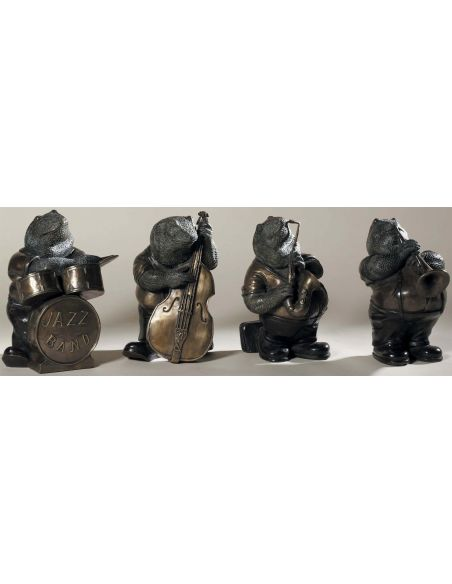 Decorative Accessories Set of Four Antique Brass Frog Band with Verdigris and Bronze Highlights