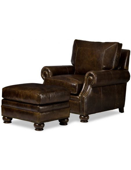 CHAIRS, Leather, Upholstered, Accent Tristan Chair & Ottoman