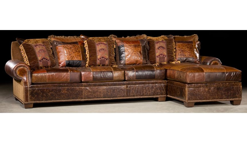 Luxury Leather & Upholstered Furniture Sofa with chaise. High end furniture and furnishings. 36